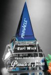 Apex Pyramid Blue Optical Crystal Awards