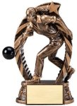 Antique Bronze and Gold Bowling,  Male Award Bronze and Gold Star Resin Trophy Awards