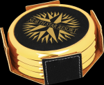 Black Leatherette Round Coaster Set with Gold Edge Circle Awards