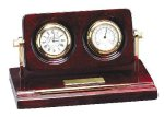 Piano Finish Rosewood Desk Clock with Instruments Desk Clocks