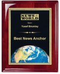 Rosewood Piano Finish Corporate Plaque Globe Awards