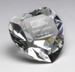 Corporate Crystal Heart Desk Accessory Paper Weights
