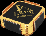 Black Leatherette Square Coaster Set with Gold Edges Sales Awards