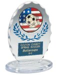 Clear/Blue Standing Oval Award Soccer Trophy Awards