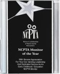 Black/Silver Star Acrylic Award Recognition Plaque Star Plaques