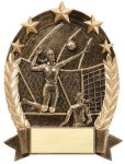 5 Star Oval Volleyball Volleyball Trophy Awards
